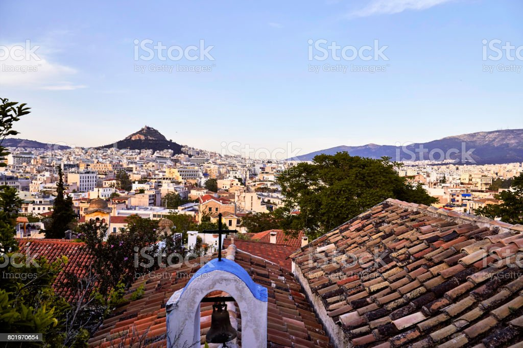 Athens city view from Plaka stock photo