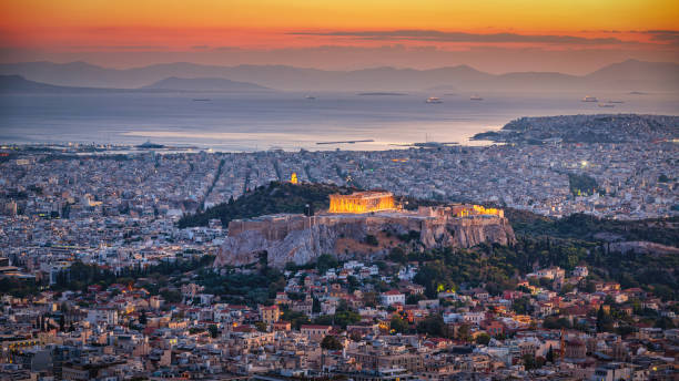 Athens Cityscape in Sunset Light Panorama stock photo