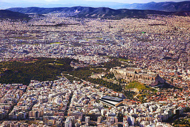 Athens from Helicopter, Greece stock photo