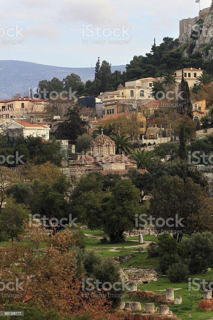 Athens, Greece -  Agora and Byzantine Church royalty-free stock photo