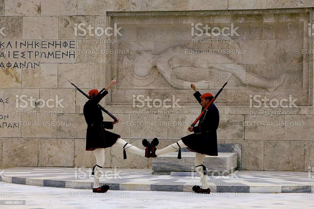 Athens, Greece - Ceremonial Guard, Tomb of Unknown Soldier royalty-free stock photo