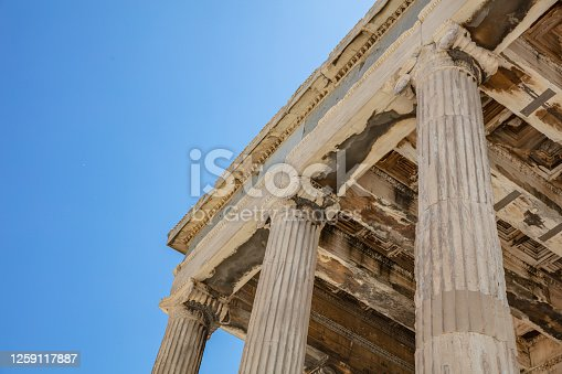 Athens Acropolis, Greece landmark. Temple of Athena, Erechtheum Ancient Greek ruins, blue sky in spring sunny day.