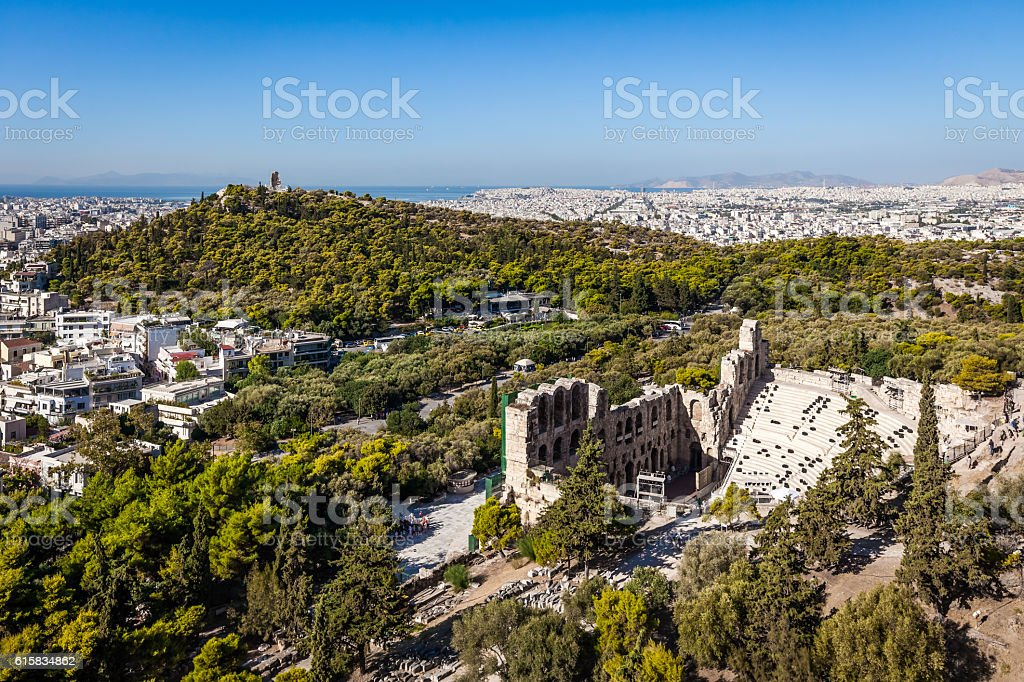 Athens, Greece, Filopappos Hill and  Odeon theatre view from Acropolis stock photo