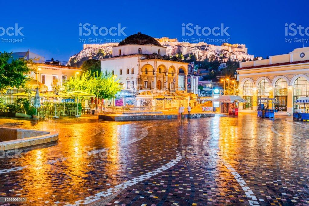 Athens, Greece -  Monastiraki Square and Acropolis stock photo
