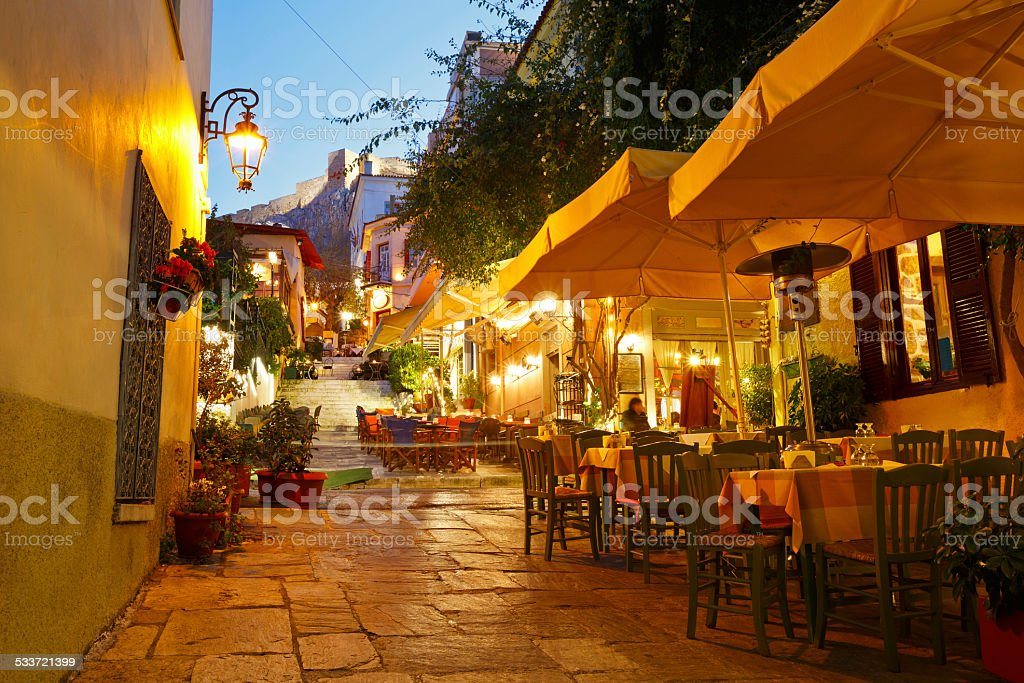 Athens, Greece. Streets of Plaka in centre of Athens, Greece. 2015 Stock Photo