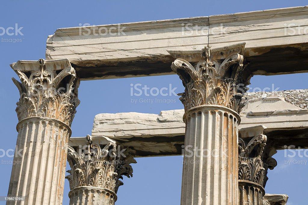 Athens - Greek corinthian capitals topped by lintel royalty-free stock photo