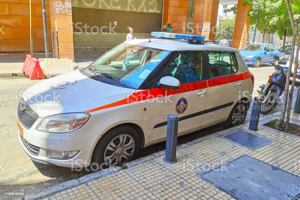 Athens Municipal Police car stock photo