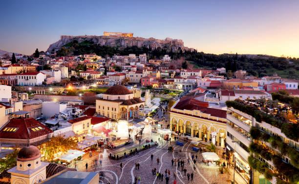 Athens - panoramic view of Monastiraki square and the Acropolis, Greece stock photo