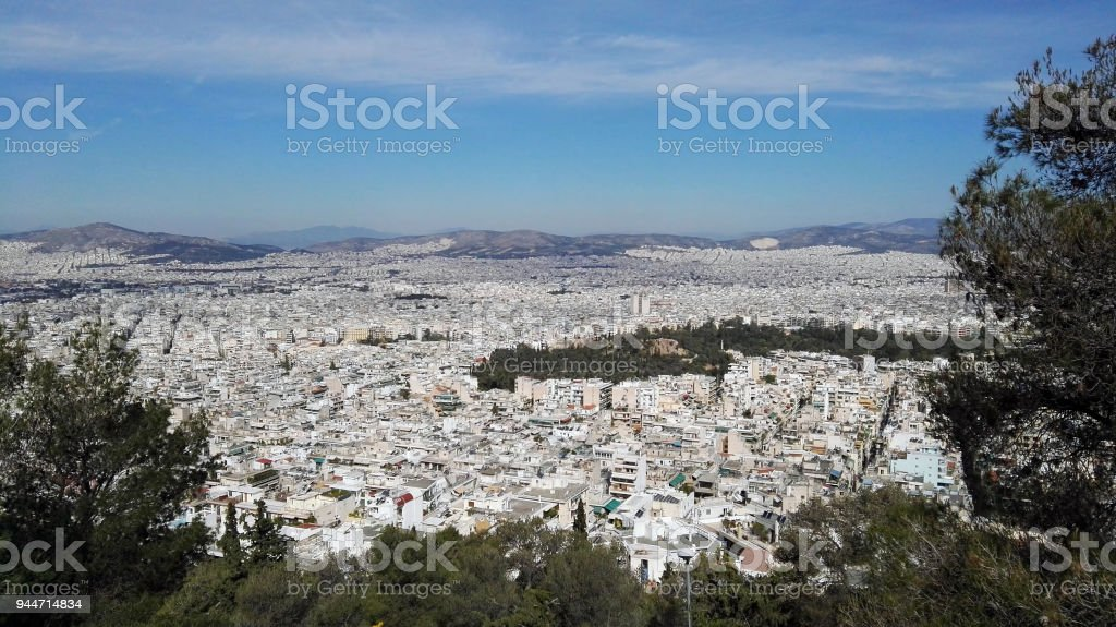 Athen panoramic view stock photo