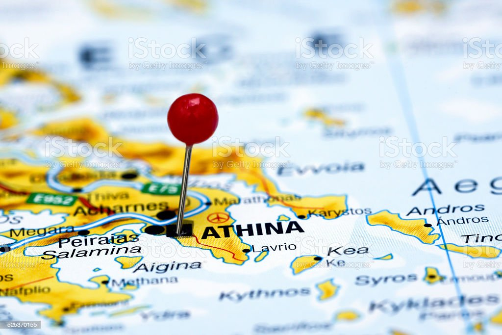 Athens Pinned On A Map Of Europe Stock Photo More Pictures Of