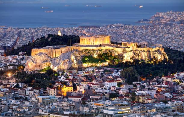 Athen Skyline Panorama mit Akropolis in Griechenland vom Berg Lycabettus nachts – Foto