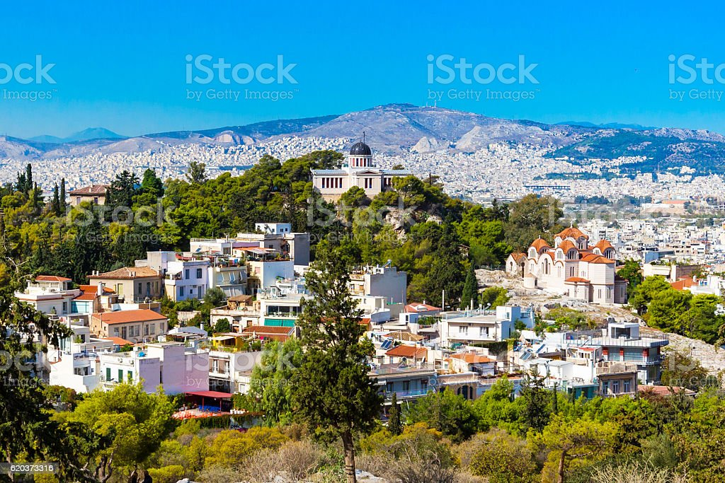 Athens skyline with Hill of the Nymphs, and church Agia zbiór zdjęć royalty-free