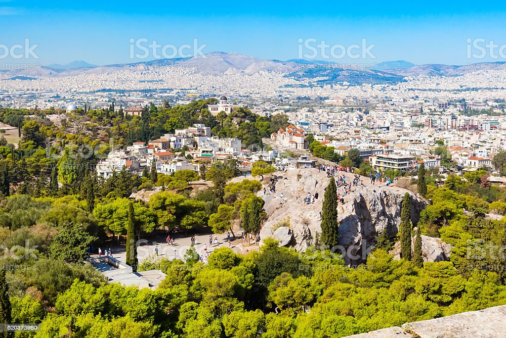 Athens skyline with Hill of the Nymphs, and church Agia foto de stock royalty-free