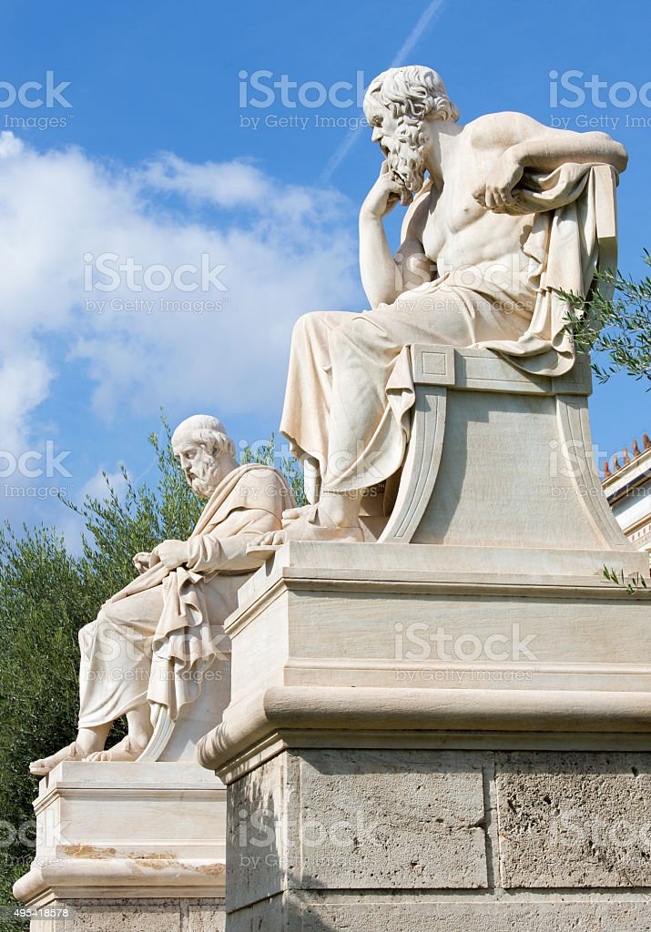 Athens - statue of Plato  in front of National Academy stock photo