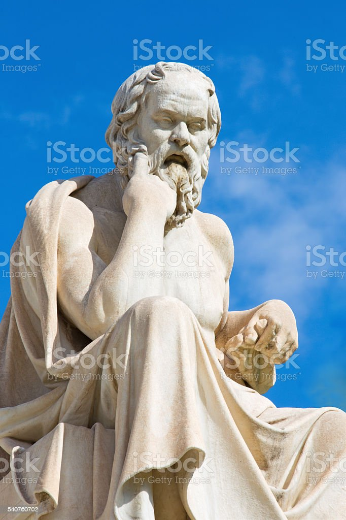Athens - statue of Socrates in front of National Academy stock photo
