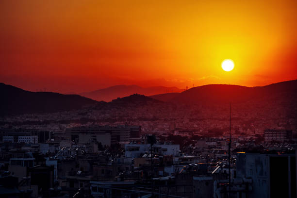 Athens sunset, Greece stock photo