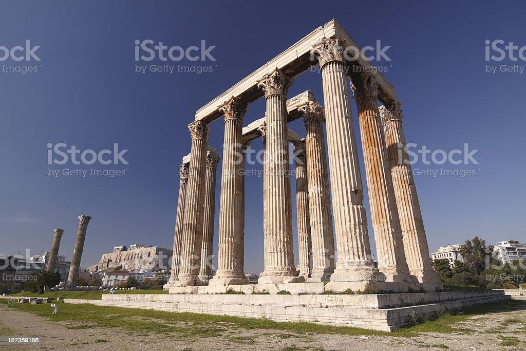 Athens Temple of Olympian Zeus stock photo