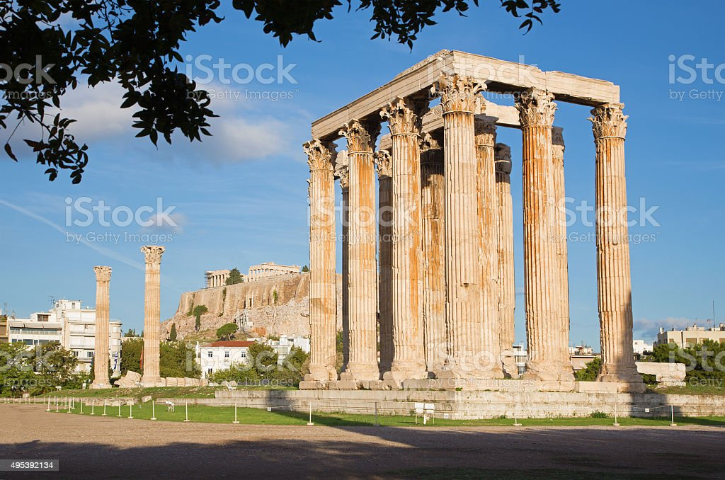 Athens - The Olympieion in morning dusk and the Acropolis stock photo