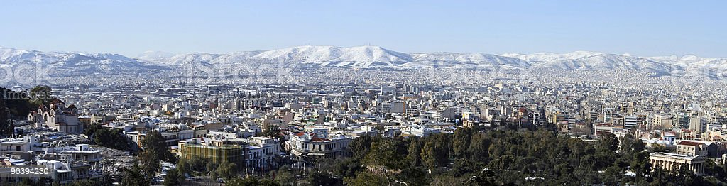 Athens Winter Panoramic - Royalty-free Ancient Stock Photo