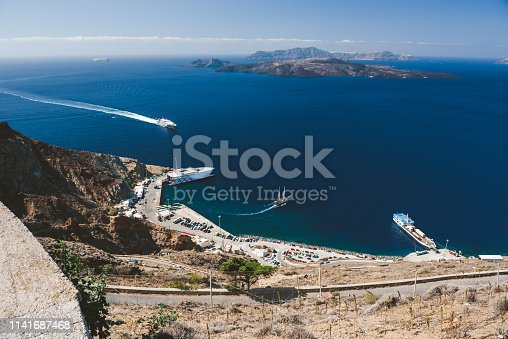 Athinios port from above, Santorini