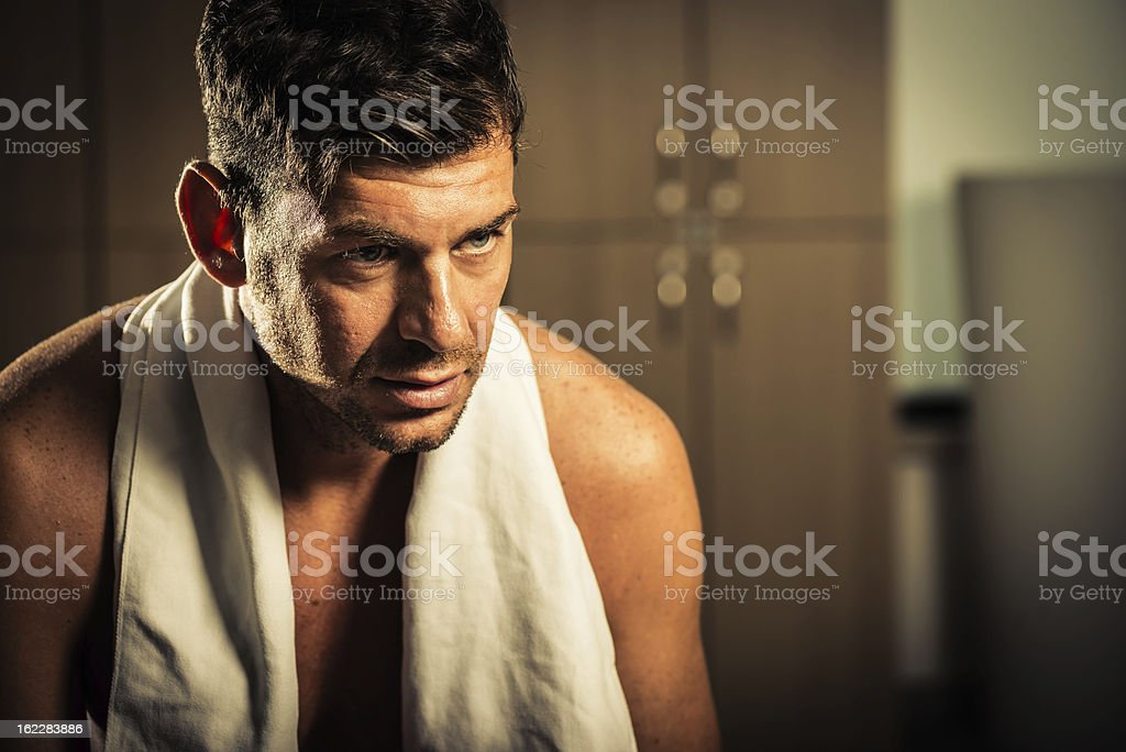 Athlet in looker room royalty-free stock photo