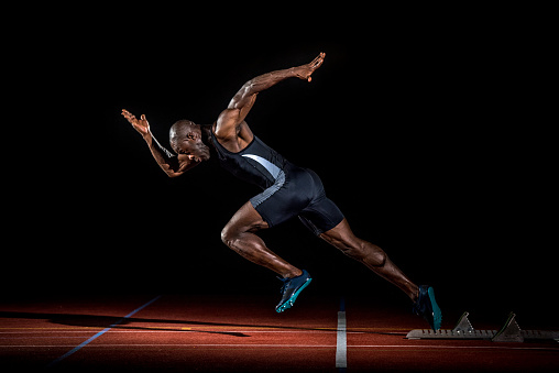 Athlete At Starting Line Stock Photo - Download Image Now
