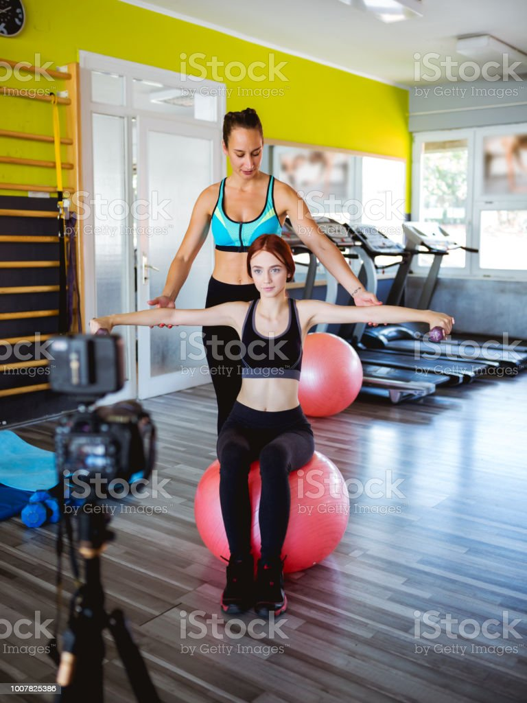 Athlete Blogger making a video stock photo