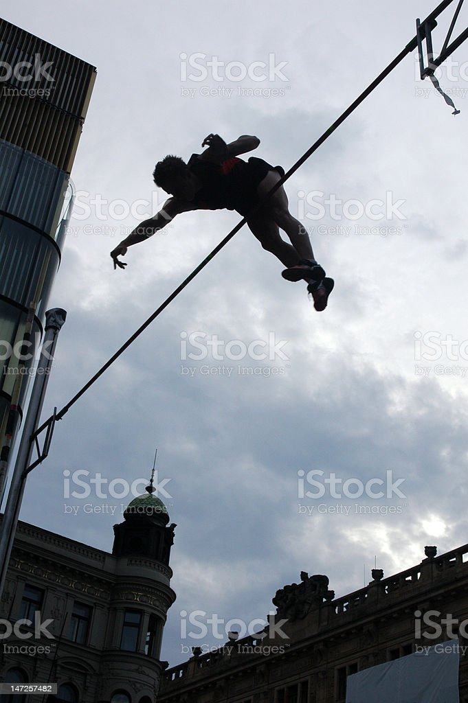 Athlete Clearing the Bar royalty-free stock photo
