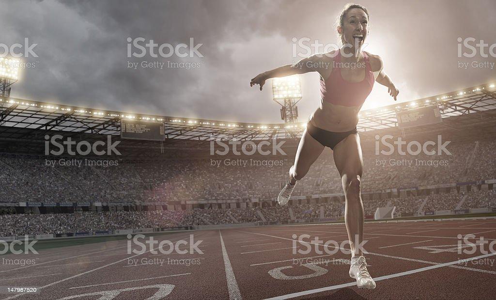 Athlete Crossing Finish Line stock photo