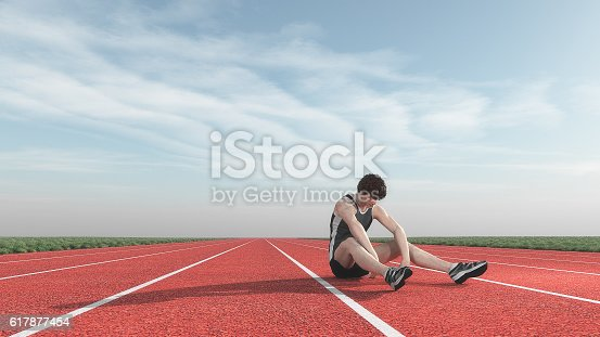 istock Athlete defeated the runway. 617877454