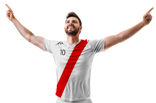Athlete / Fan celebrating on white and red uniform