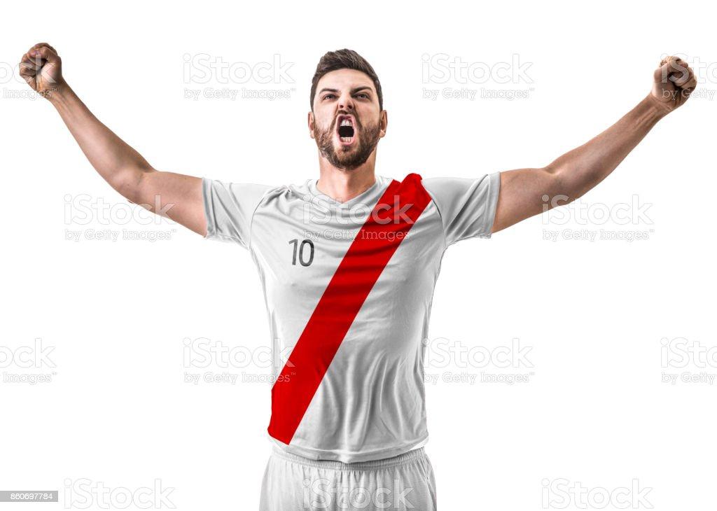 Atleta / ventilador celebrando no uniforme vermelho e branco - foto de acervo