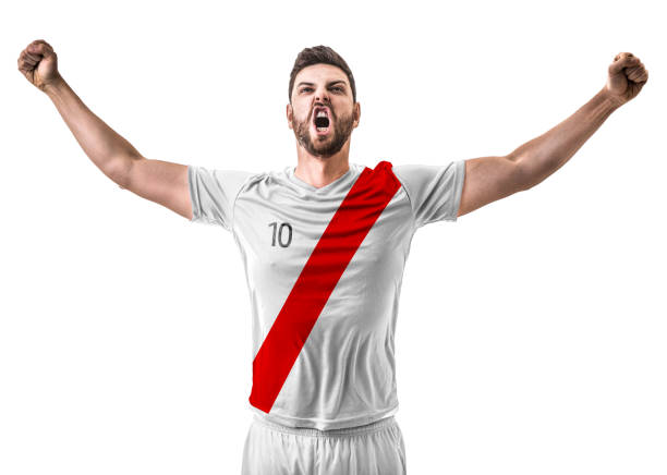 athlete / fan celebrating on white and red uniform - peruvian ethnicity stock pictures, royalty-free photos & images