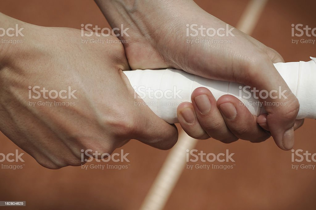 Athlete holding a tennis racket stock photo