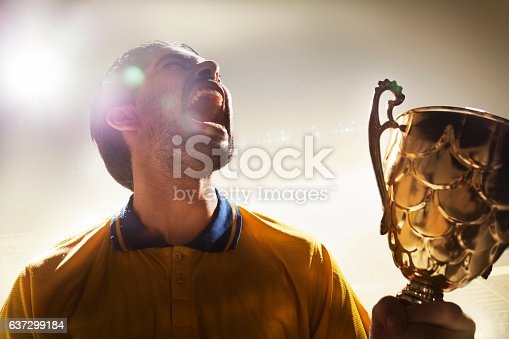 istock Athlete holding trophy cup in stadium 637299184