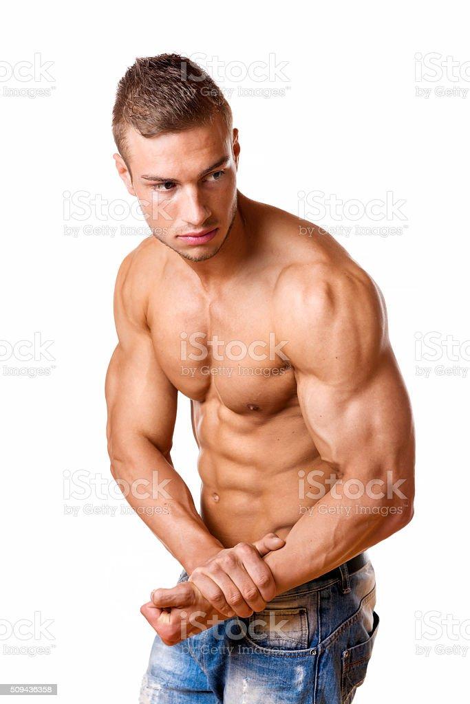 Athlete in denim trousers stock photo