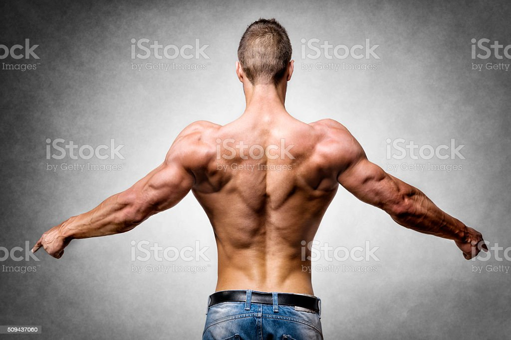 Athlete in denim trousers stock photo