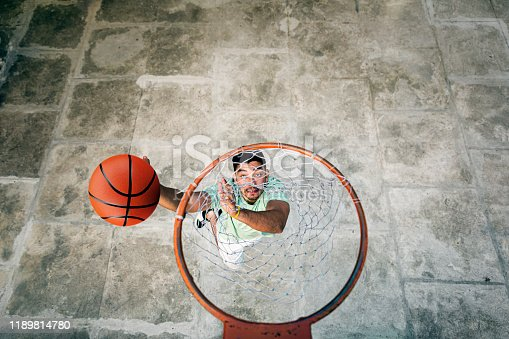 Athlete jumping to score in basketball. Canon Mark IV
