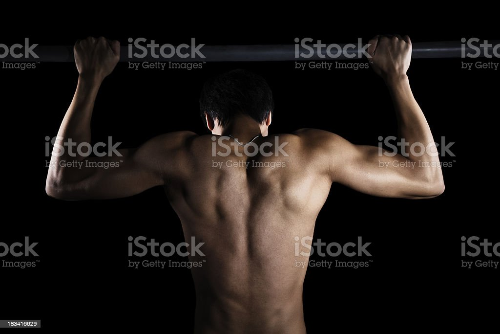Athlete On a Pull Up Bar royalty-free stock photo