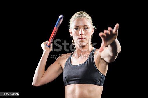 856713554 istock photo Athlete preparing to throw javelin 663787824