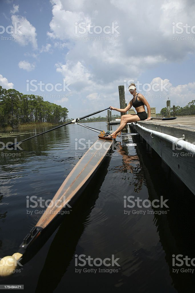 Athlete Rowing and Sculling at Rest royalty-free stock photo