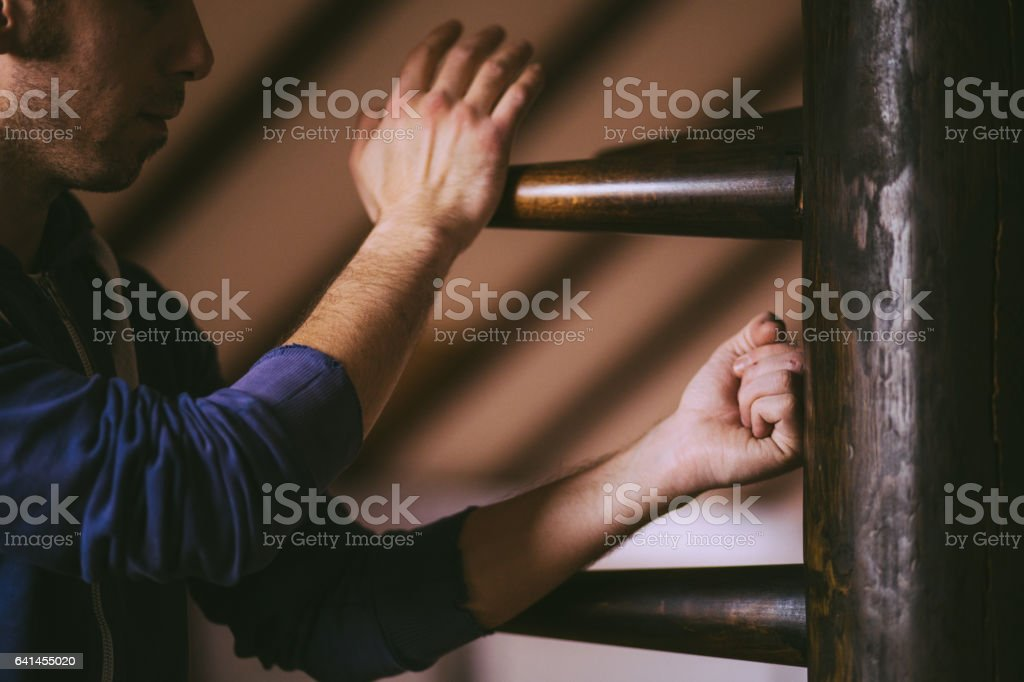 Athlete Showing Combat Techniques of Kung Fu stock photo