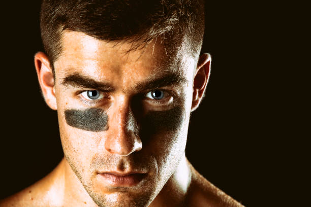 Athlete Staring Intensely stock photo