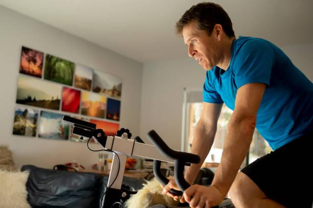 Athlete staying at home, training during coronavirus pandemic.