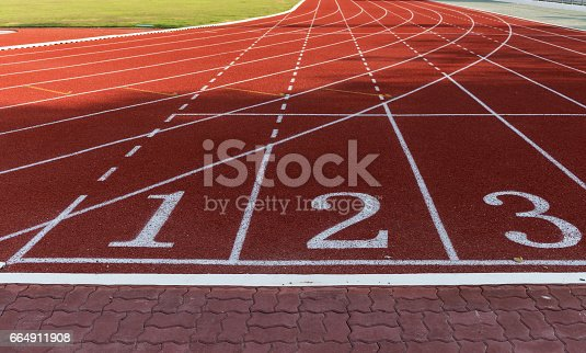 istock Athlete Track or Running Track with numbers 1 to 3 664911908