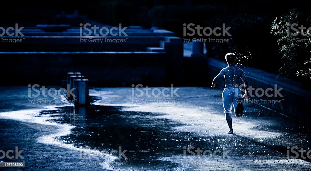 Athlete training using natural method outdoors royalty-free stock photo