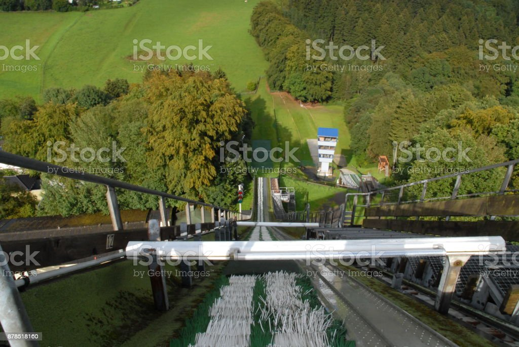Athlete view at the start of a ski jump stock photo
