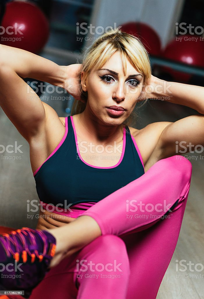 Athlete Woman Doing Sit Ups For Abdominal Muscles On Mat