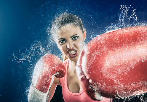 Athlete Woman Fighting Boxing With Gloves Stock Photo ...
