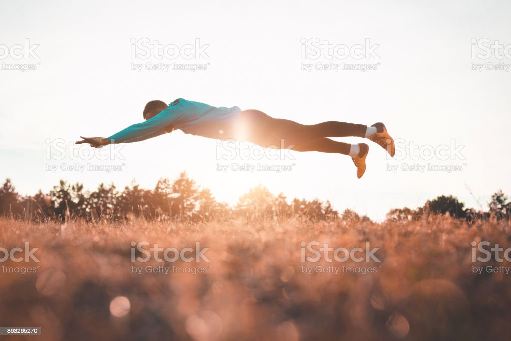 Athlete working out in the nature stock photo